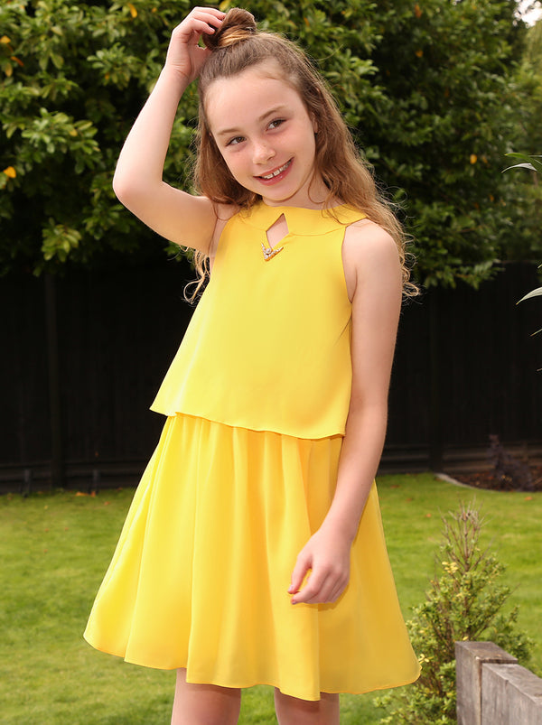Girls Tiered Midi Dress in Yellow