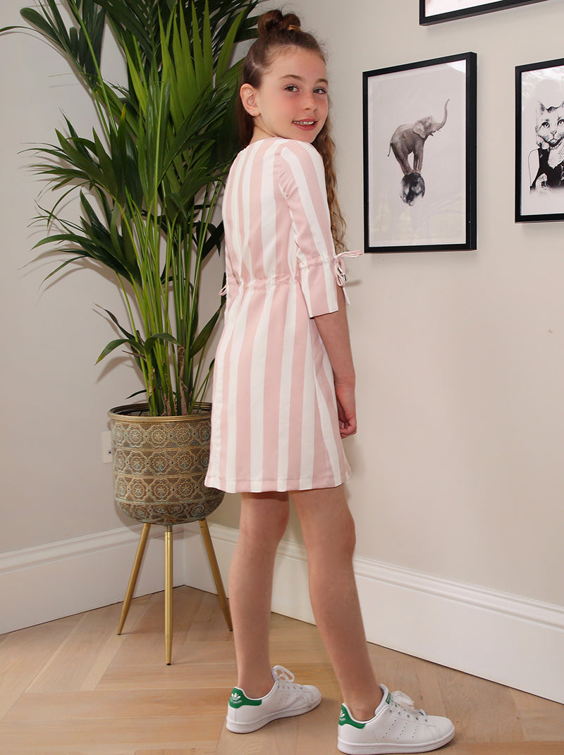 Girls Striped Drawstring Dress in White