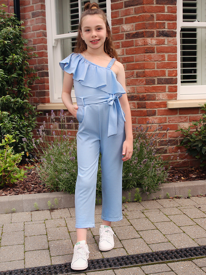 Girls Frill Detail Jumpsuit In Blue