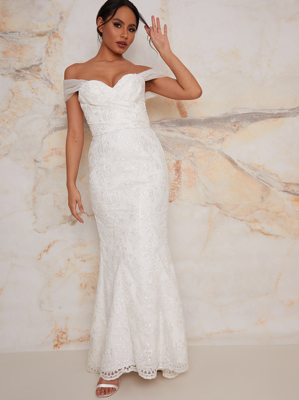 Lace Sweet Heart Wedding Dress with Train in White