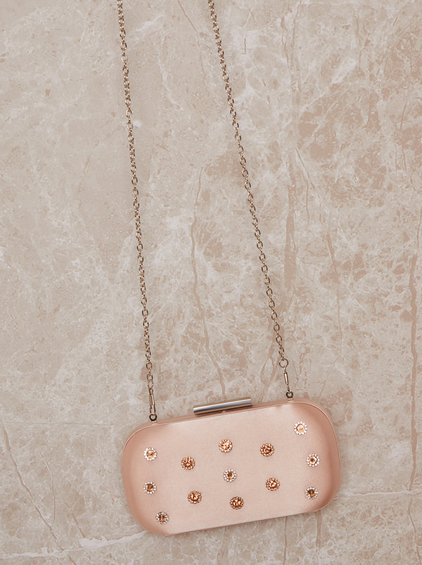 Jewel Embellished Clutch Bag in Pink