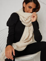 Woollen Frayed Effect Scarf in Cream