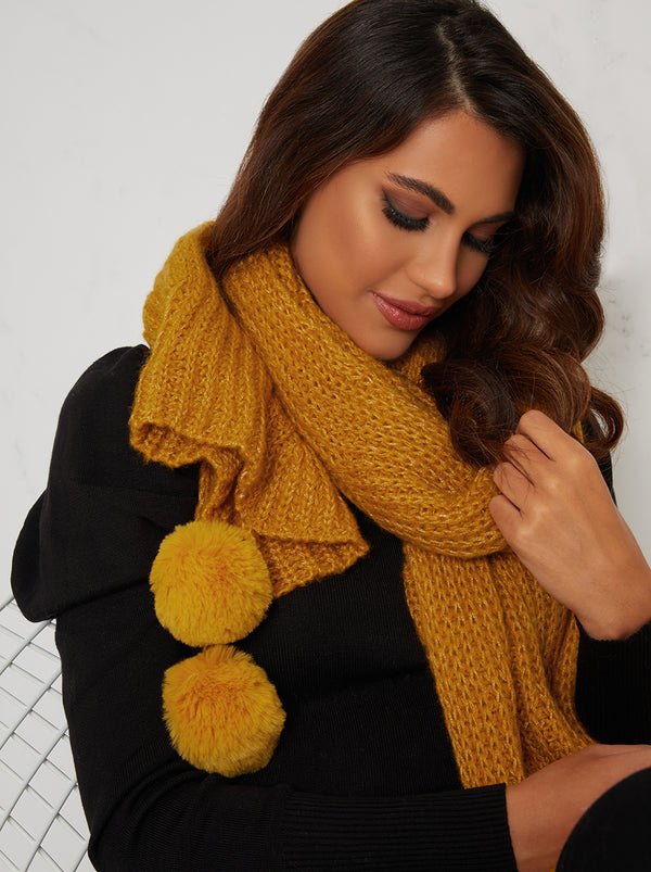 Winter Scarf with Pom Pom Detail in Yellow