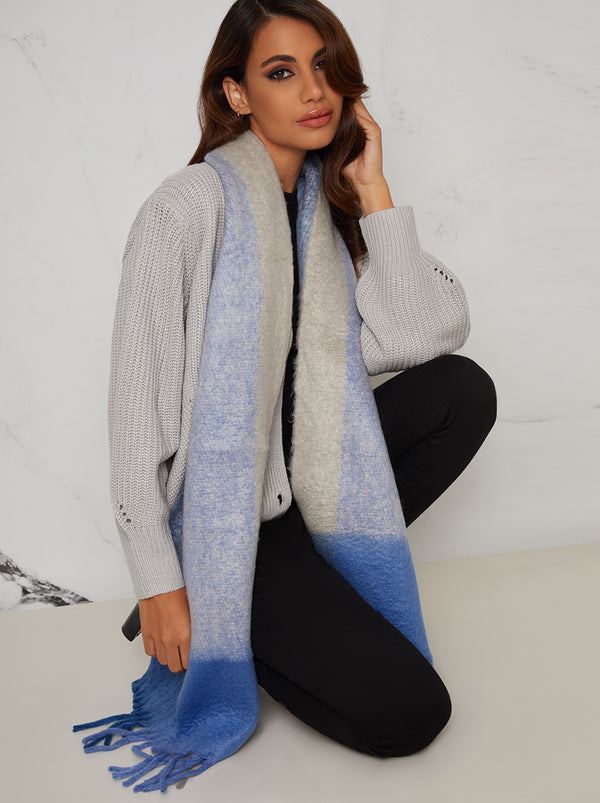 Check Print Soft Scarf in Blue