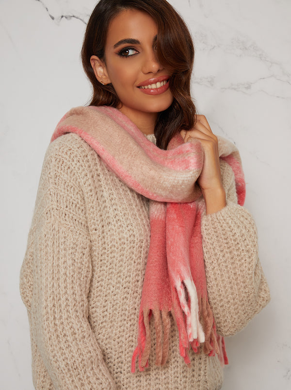 Check Tassel Soft Scarf in Pink