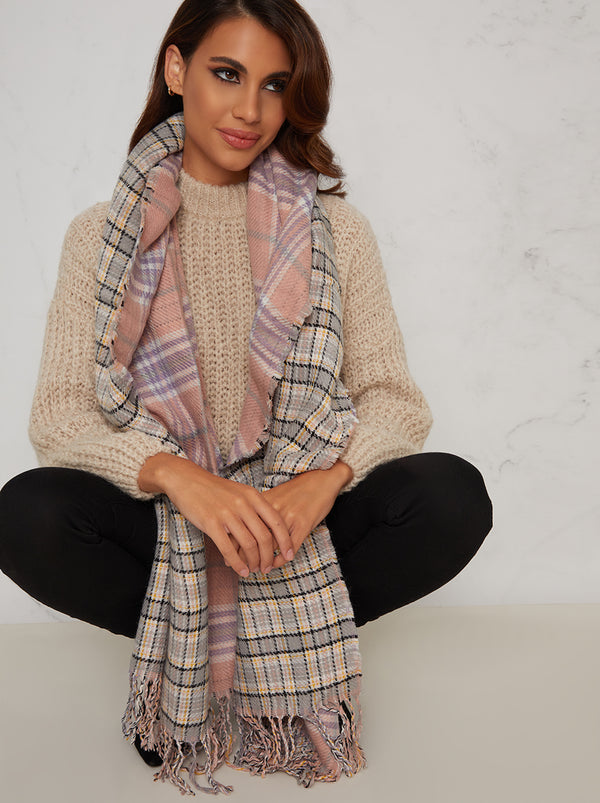 Check Reversible Scarf in Pink