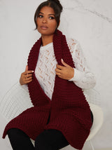 Chunky Knit Scarf in Red