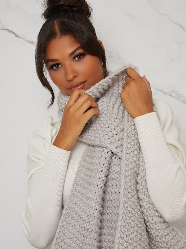 Chunky Knit Scarf in Grey