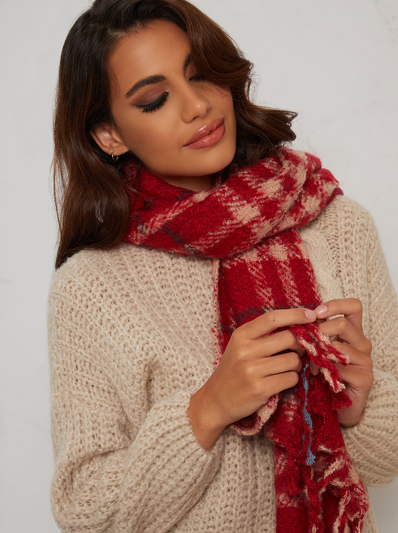 Knitted Scarf with Checkered Detail in Red