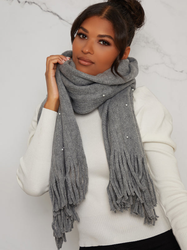 Pearl Detail Soft Knit Scarf in Grey