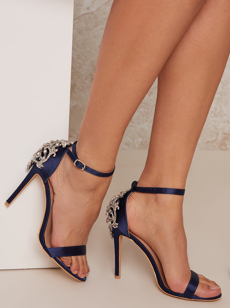 Strappy Heels with Sequin Design in Blue