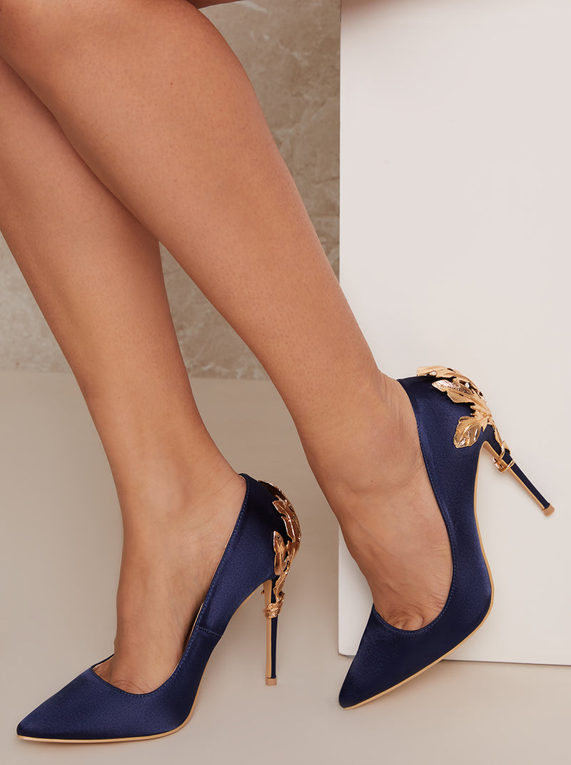 High Embellished Heel Satin Court Shoe in Blue