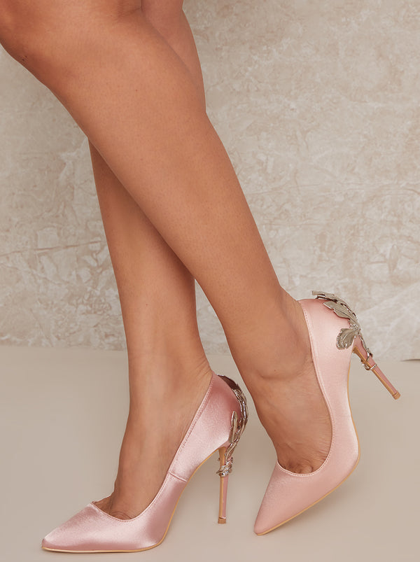 High Heel Satin Embellished Court Shoe in Pink