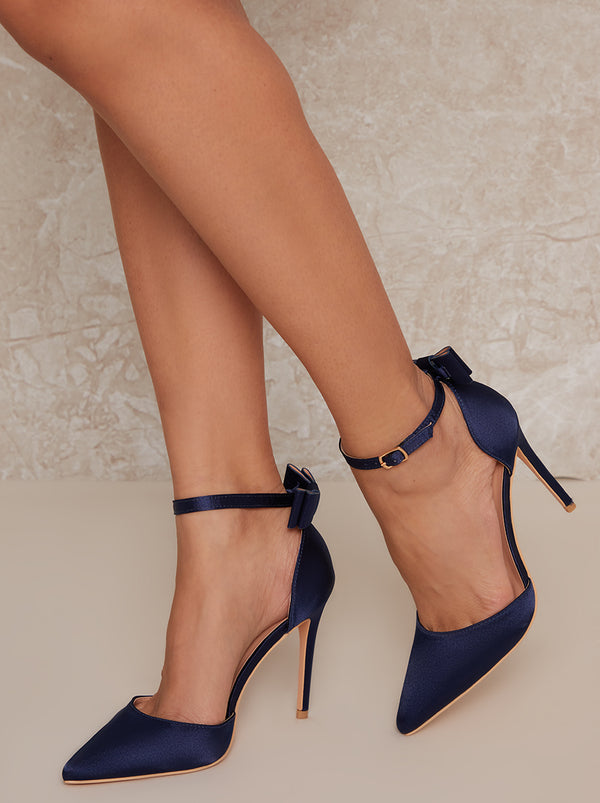 High Heel Satin Bow Court Shoe in Blue