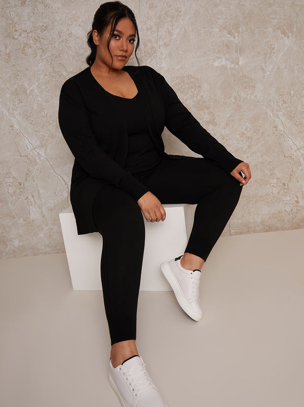 Plus Size Knitted Long Sleeve Lounge Cardigan in Black