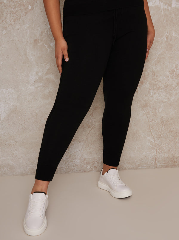 Plus Size Knitted Lounge Jogger in Black