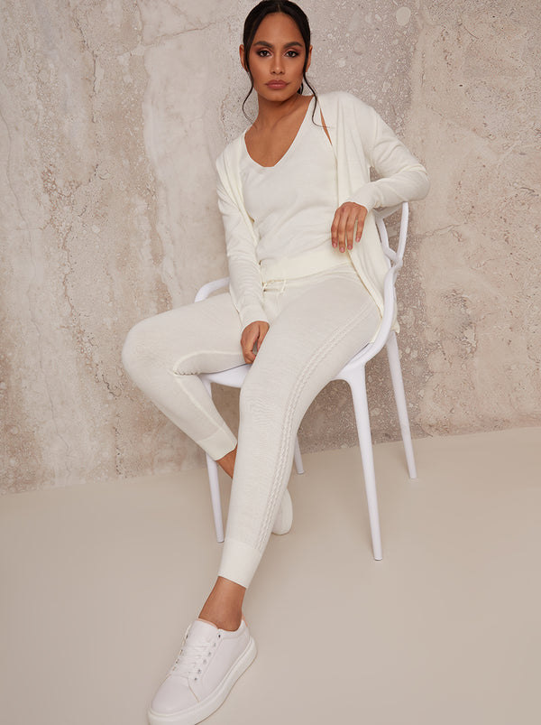 3 Piece Cardigan Loungewear Set in Cream