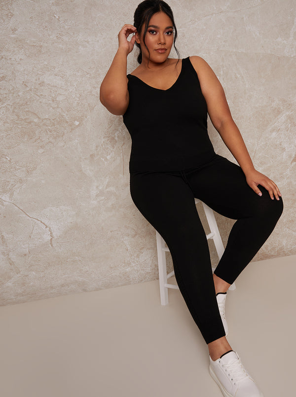 Plus Size Knitted Sleeveless Lounge Cami Top in Black