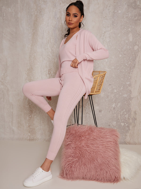 3 Piece Cardigan Loungewear Set in Pink