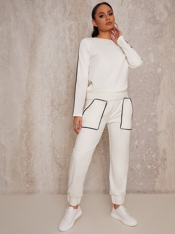 Contrast Binding Loungewear Set in Cream
