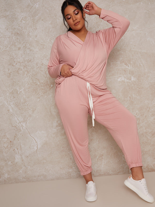 Plus Size Jersey Lounge Jogger in Pink