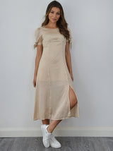 Short Sleeved Silky Midi Dress in Neutral