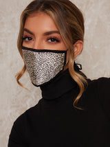 Abstract Satin Finish Face Mask in Black