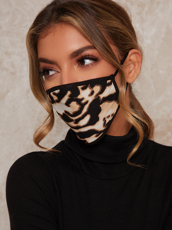 Abstract Print Face Mask in Black