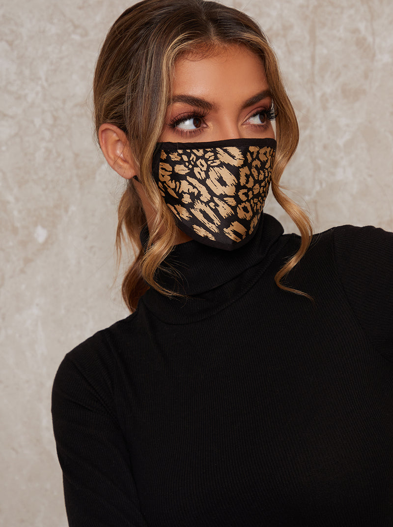 Animal Print Face Mask in Black