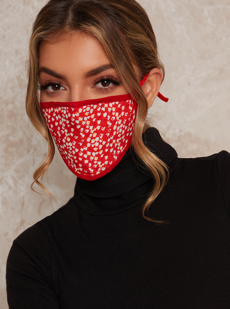 Absract Print Face Mask in Red