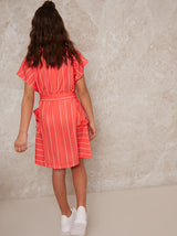 Girls Stripe Dress with Tie Waist in Red