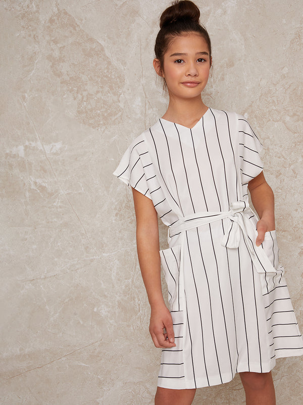 Girls Stripe Dress with Tie Waist in White