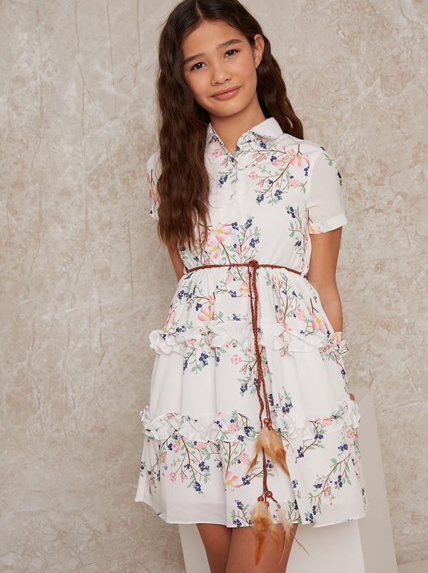 Girls Floral Ruffle Shirt Dress in White
