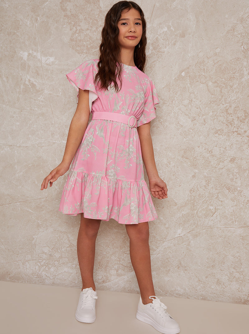 Girls Angel Sleeve Ruffle Dress in Pink