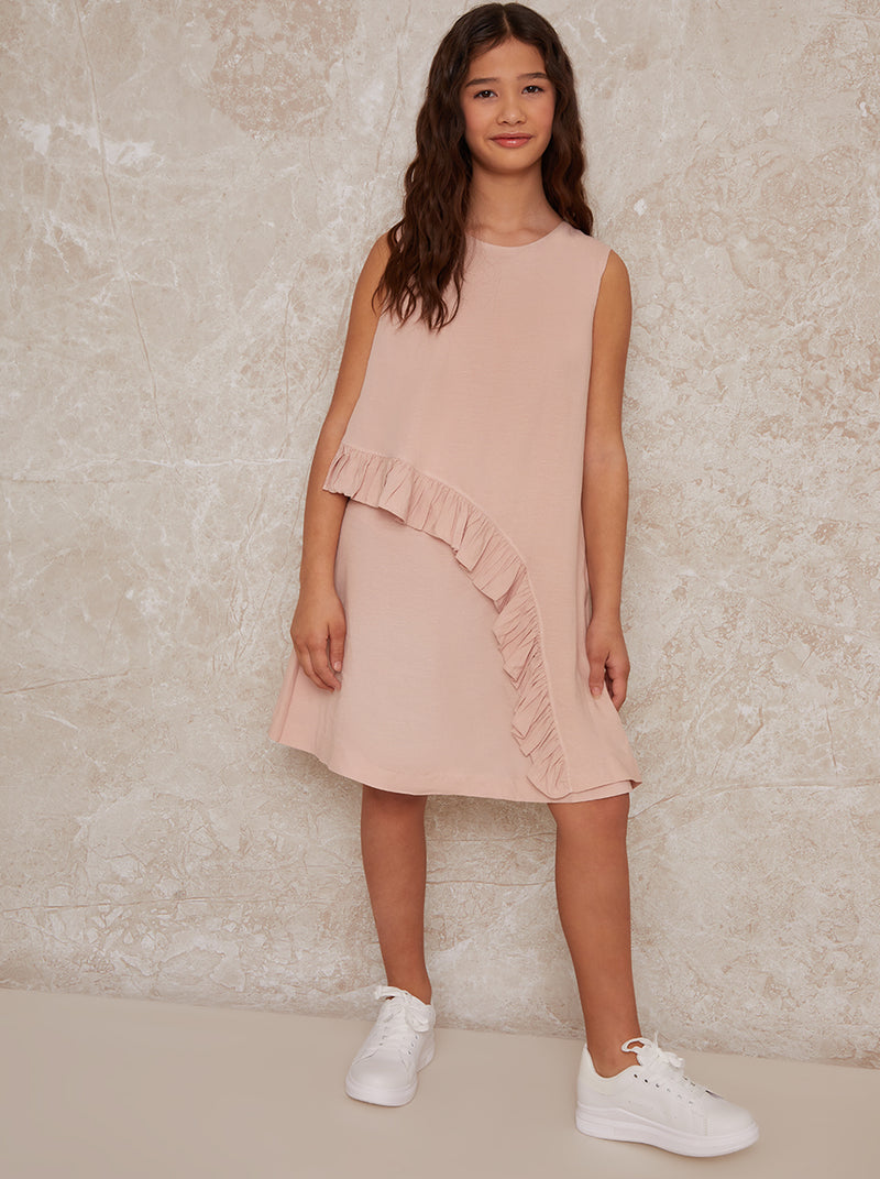 Girls Sleeveless Ruffle Midi Dress in Pink