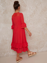 Girls Ruffle Hem Dress in Red