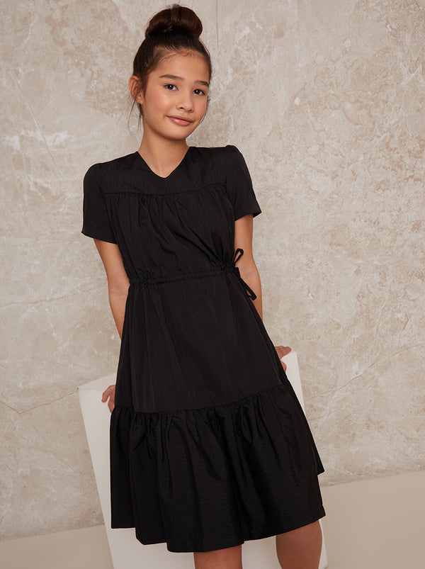 Girls Cap Sleeve Midi Dress in Black