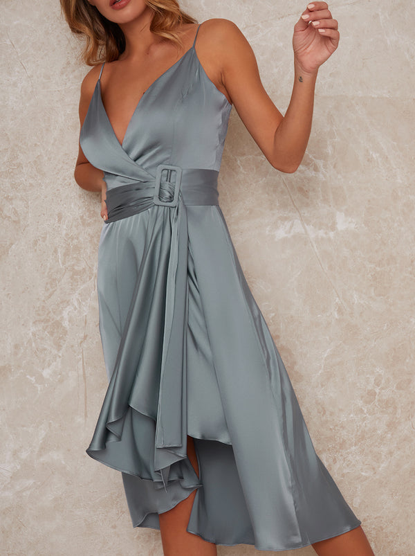 Wrap Bodice Cami Strap Bridesmaid Midi Dress in Green