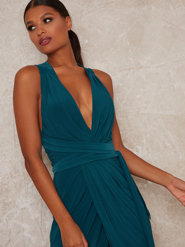 Plunge Neck Wrap Style Midi Dress in Green
