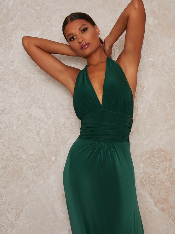 Halter Neck Plunge Maxi Dress in Green