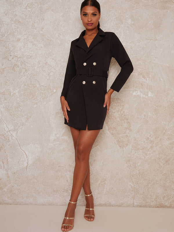 Blazer Double Breasted Mini Dress in Black