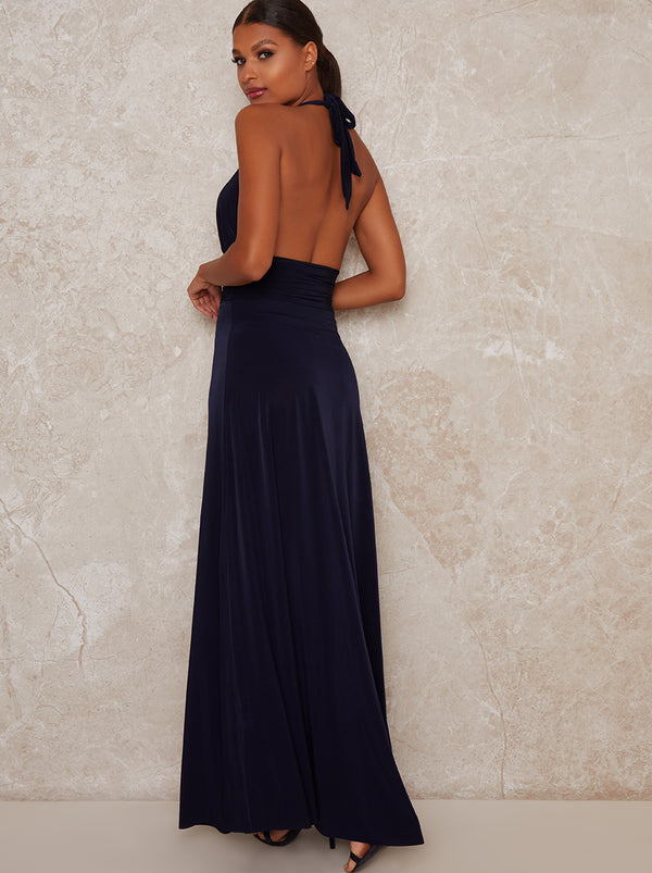 Halter Plunge Neck Maxi Dress in Blue