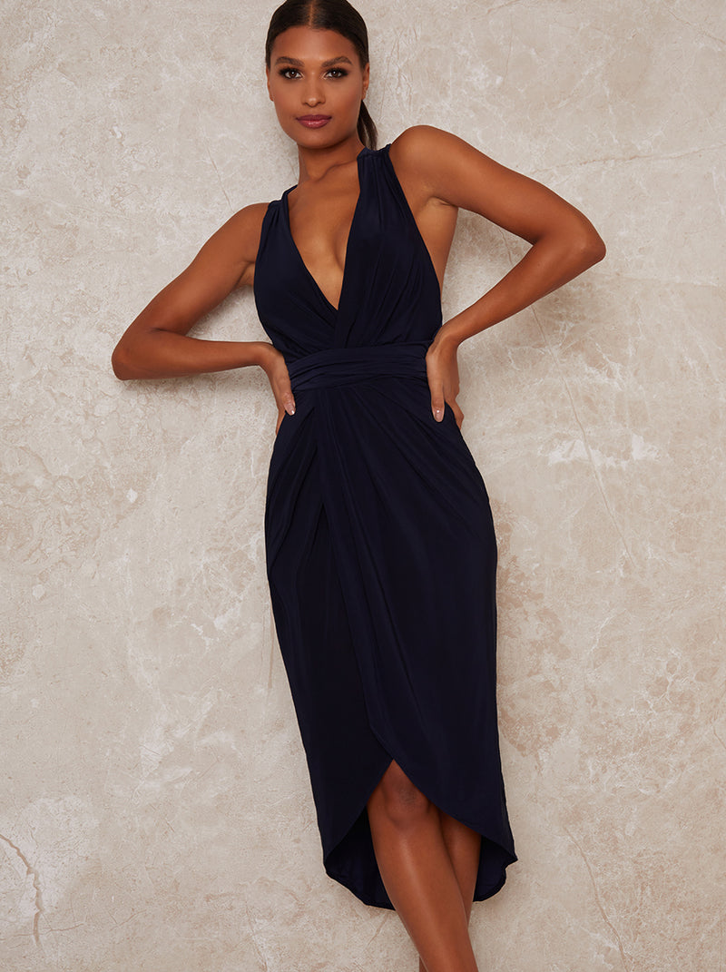V Neck Wrap Design Midi Dress in Blue