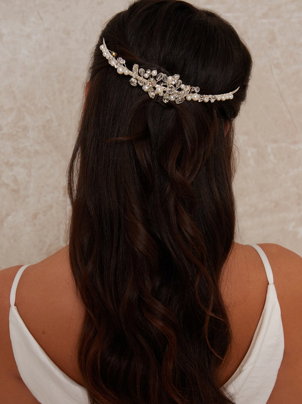 Floral Pearl & Beaded Hair Piece in Silver