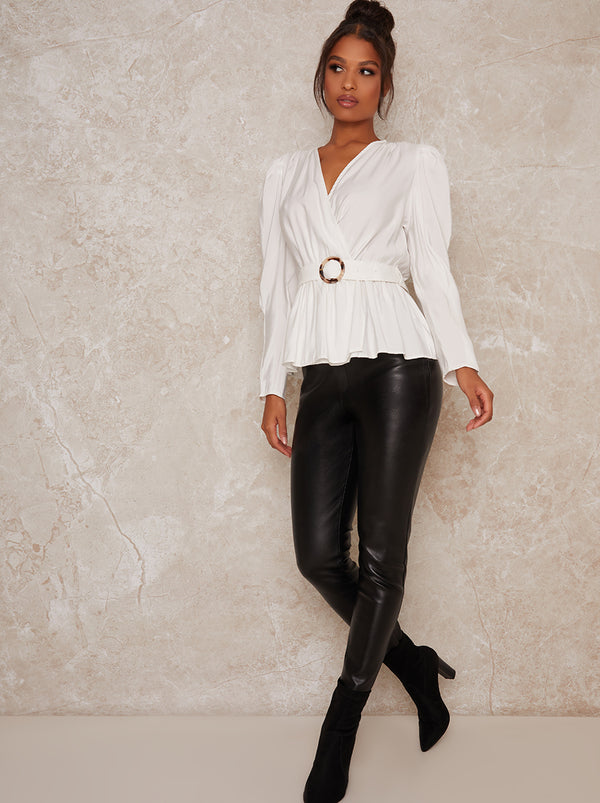 Wrap Style Belted Long Sleeve Top in White