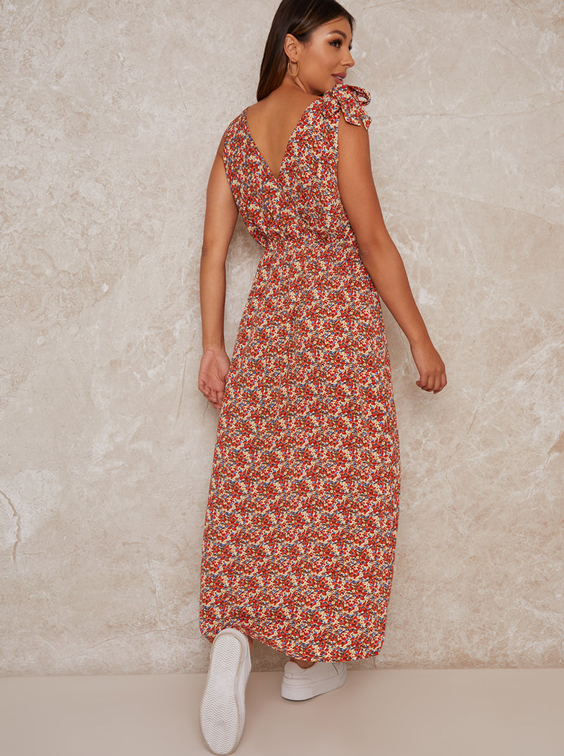 V Neck Floral Print Casual Maxi Dress in Multi