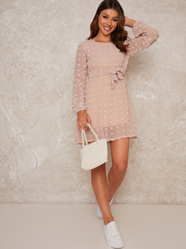 Dobby Tie Waist Long Sleeved Mini Dress in Pink