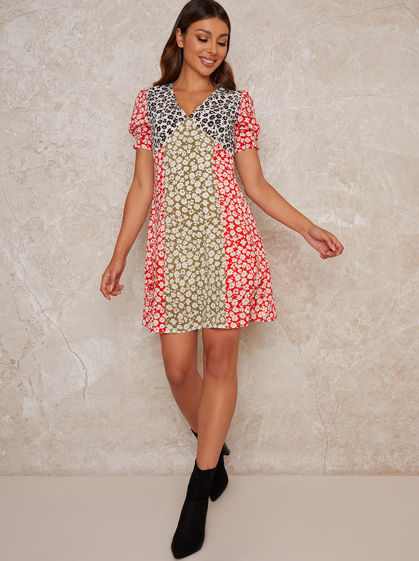 Contrast Floral Panel Mini Dress in Multi
