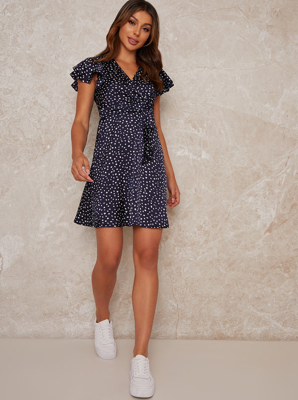 Spot Print Short Sleeved Mini Dress in Blue