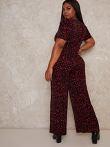 Plus Size Wide Leg Print Jumpsuit in Black